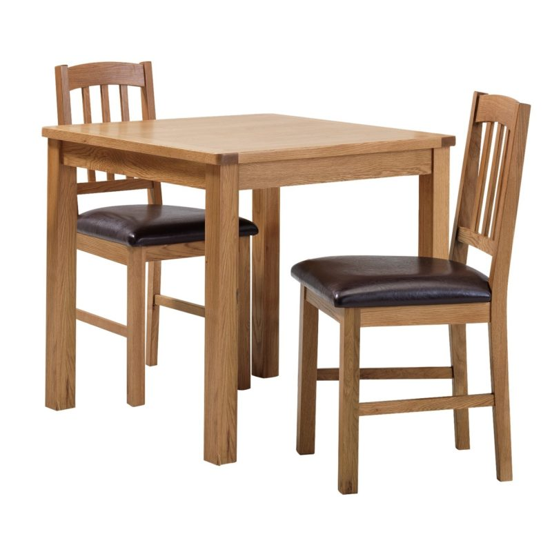 Small oak dining table and two chairs