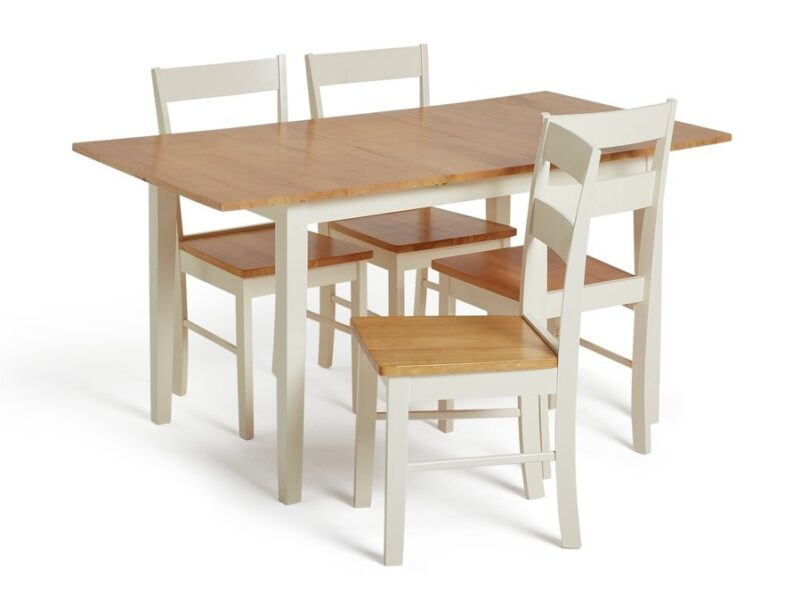 White painted dining set with oak tops