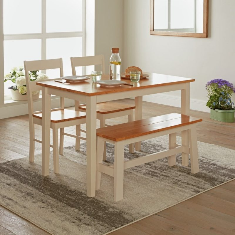 2-tone dining table, bench and 2 chairs