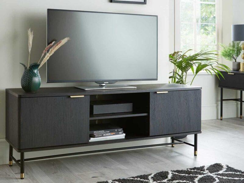 Wide TV unit with walnut finish
