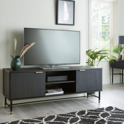 Wide TV unit with walnut finish