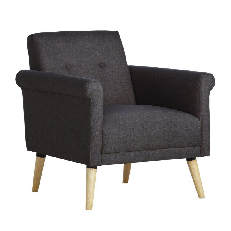 Charcoal Grey Fabric Armchair