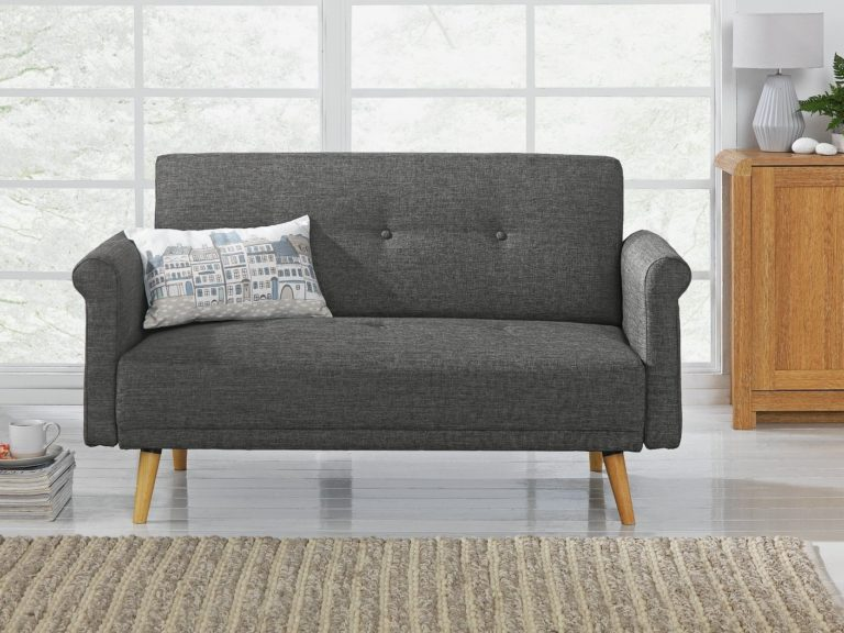 Grey fabric sofa with wooden legs