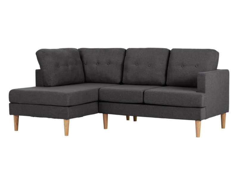 Grey fabric corner sofa left handed