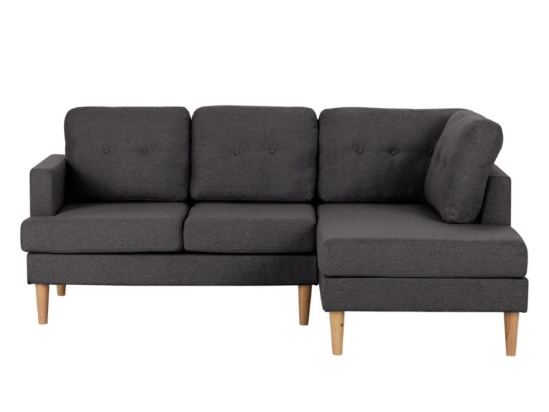 Right handed grey fabric corner sofa