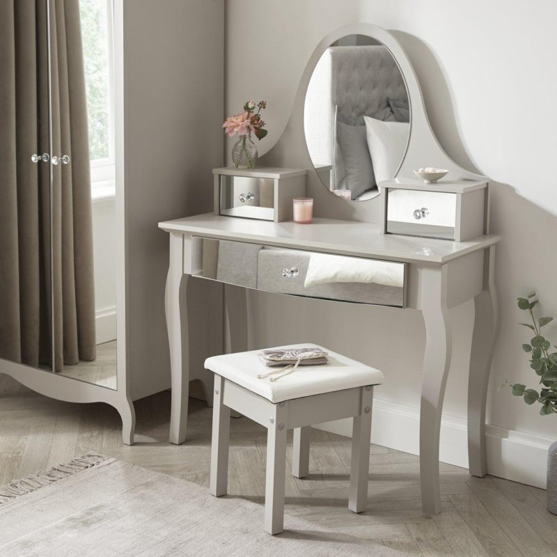 Grey dressing table and stool with mirrored drawer