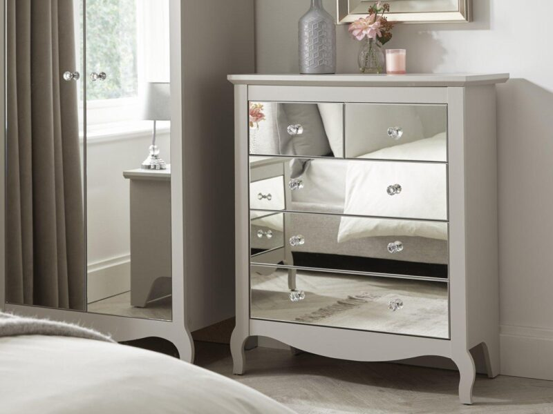 Grey drawer chest with mirror fronts