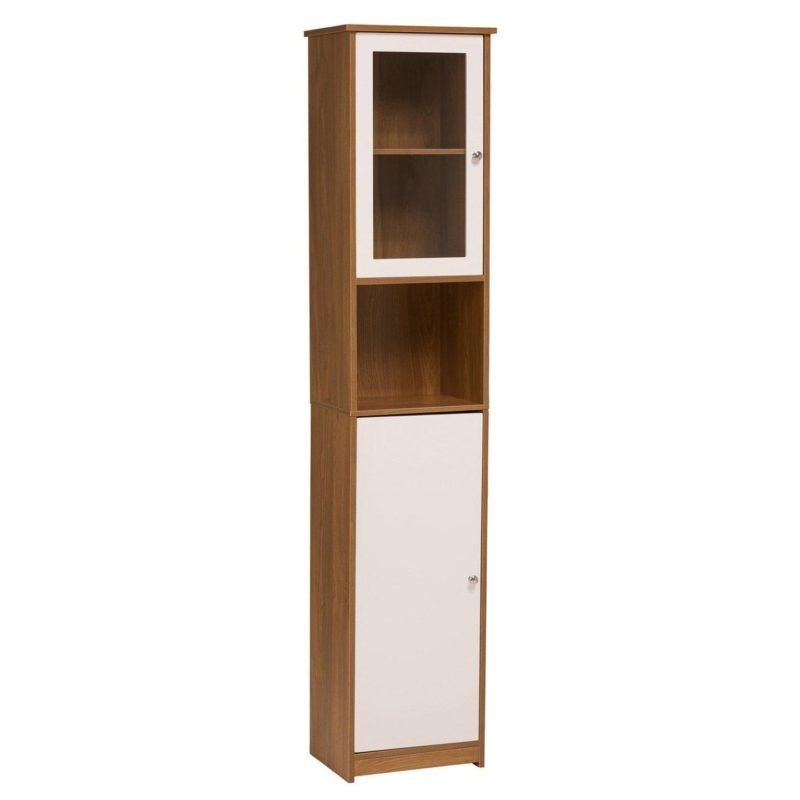 Oak tallboy cabinet with glass door