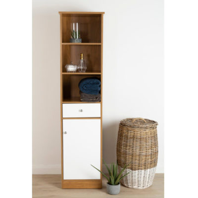 Oak tallboy with gloss white cupboard door and drawer