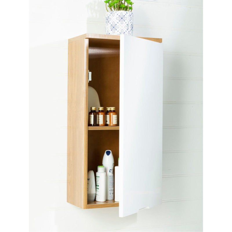 Oak wall-mounted bathroom cabinet with white gloss door