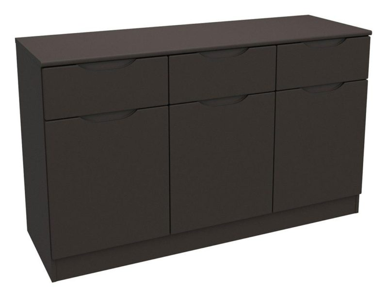 Graphite grey gloss 3-door sideboard
