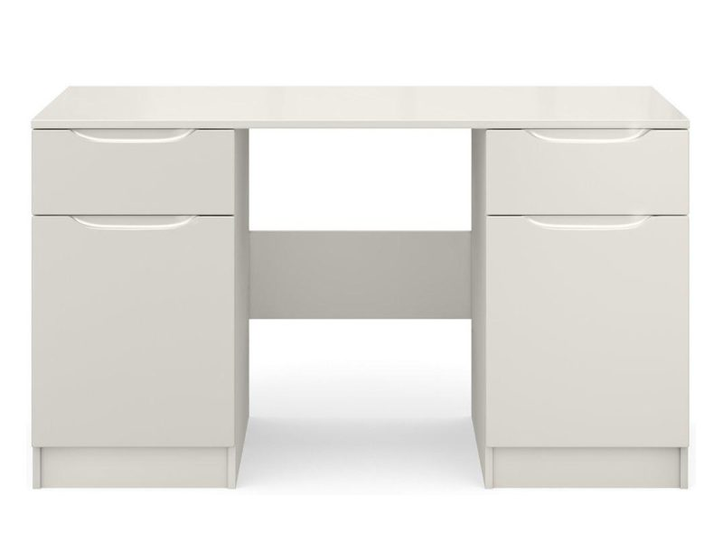 Grey gloss twin pedestal desk