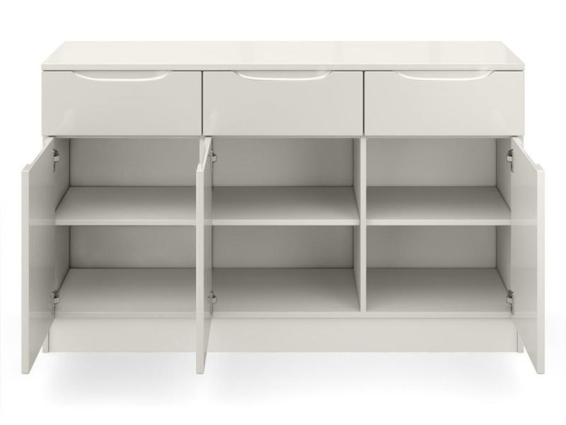 Light grey gloss 3-door sideboard