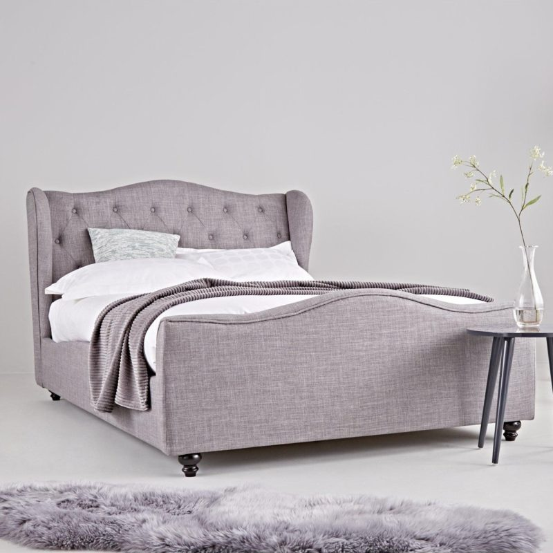 Grey fabric double bed