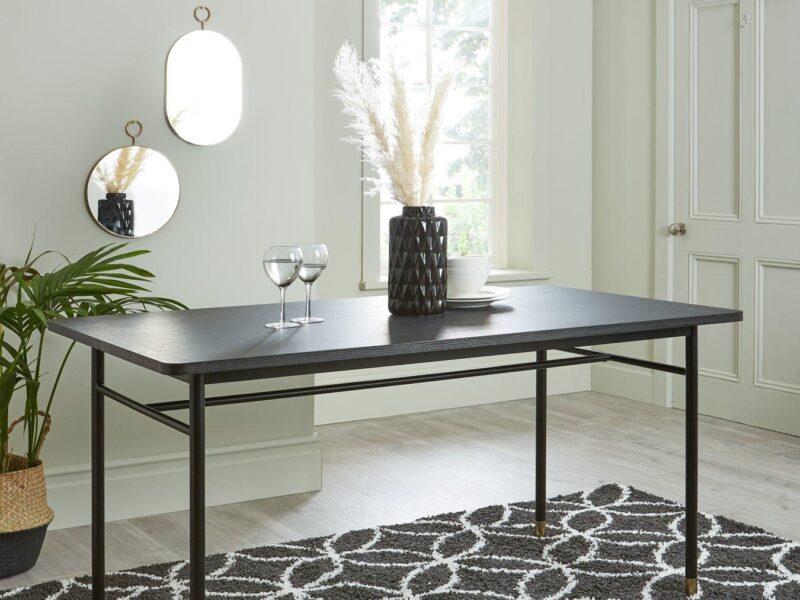 Retro style walnut dining table