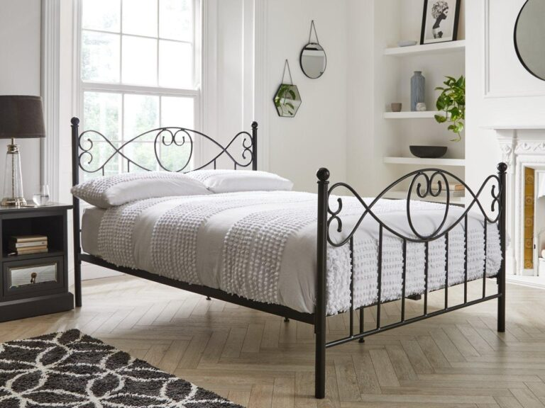 Black-painted traditional metal bed frame