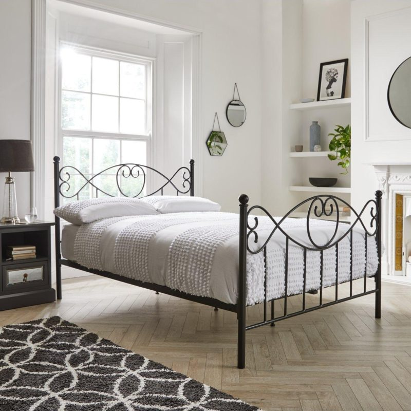 Black-painted metal bed frame