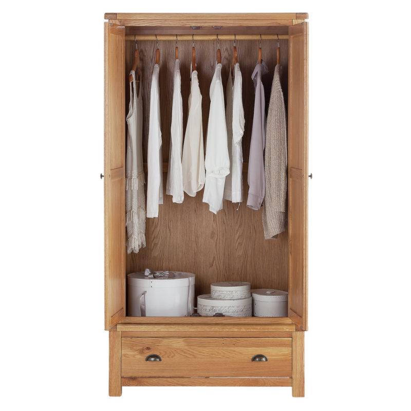 2-door oak wardrobe with drawer