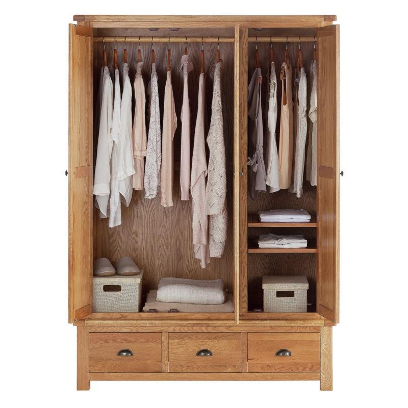 3-door oak wardrobe with 3 drawers