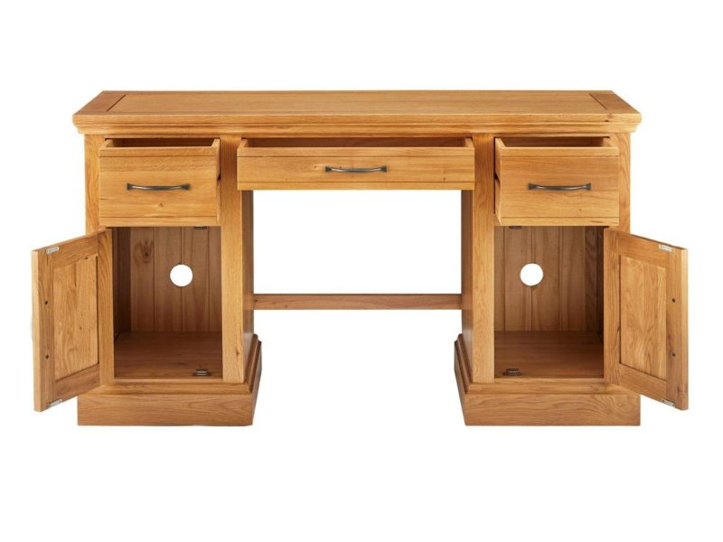 Oak desk with cable cut-outs