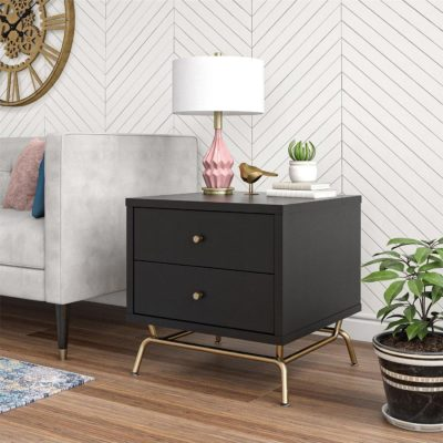 Black 2-drawer side table with brass coloured base