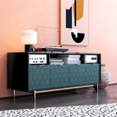Wide TV/Media Cabinet with Geometric Pattern Doors