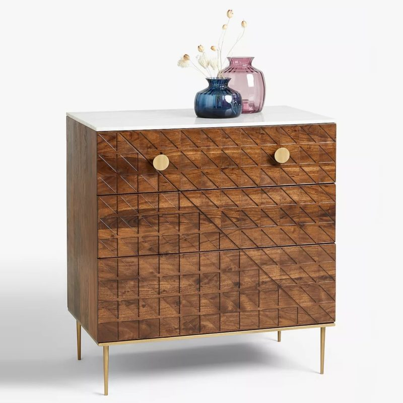 3 drawer chest with marbled top and gold coloured handles