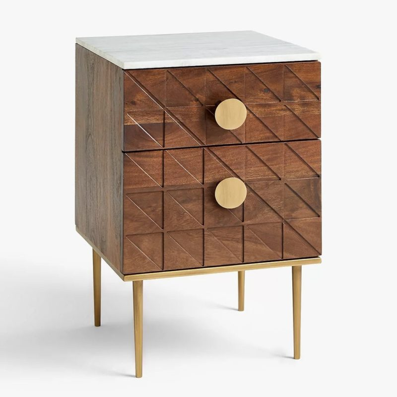 2-drawer cabinet with marble top