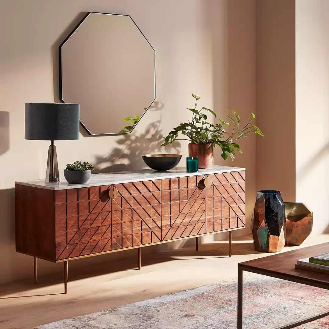 Mid-century style sideboard with faux marble top