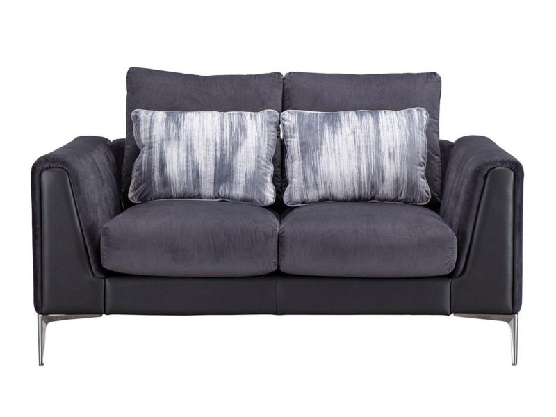 Dark plum fabric 2-seater sofa with accent cushions