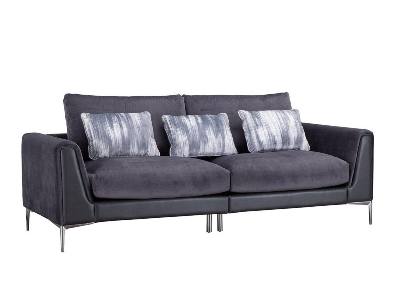 4-seater dark fabric sofa with accent cushions and chrome legs