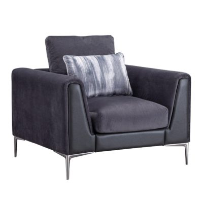 Plum fabric armchair with chrome legs and accent cushions