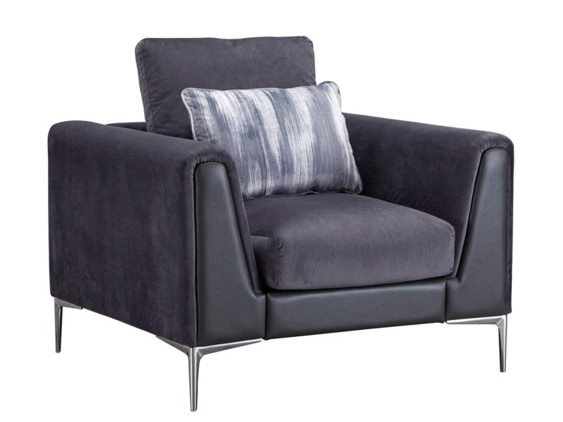 Fabric armchair with leather trim and chrome legs