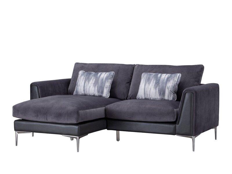 Plum fabric chaise-end sofa