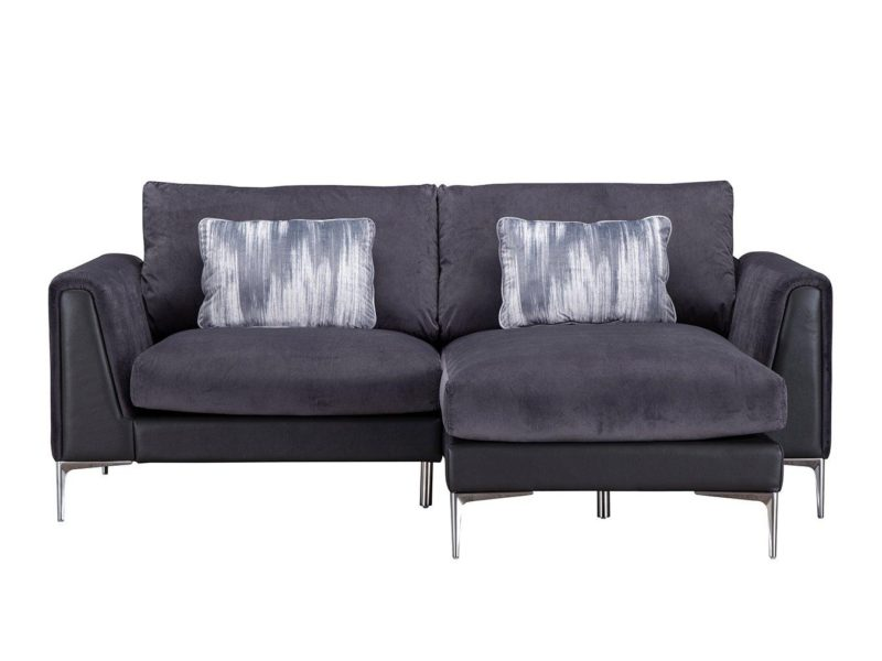 Right-hand chaise sofa with chrome legs