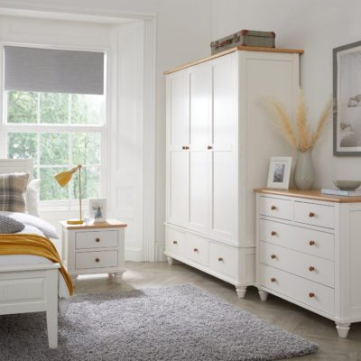 White and oak bedroom furniture
