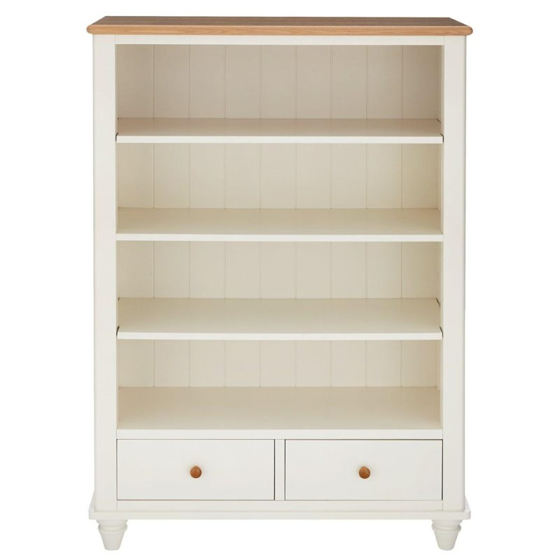 White-painted bookcase with 2 drawers and oak top