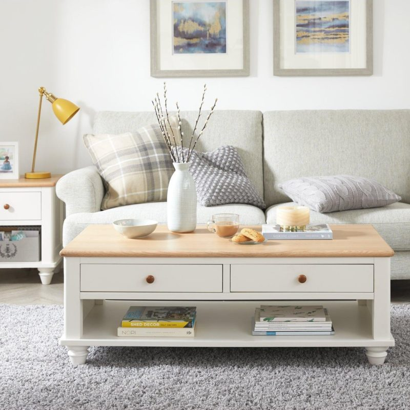 White-painted 2-drawer coffee table with oak top