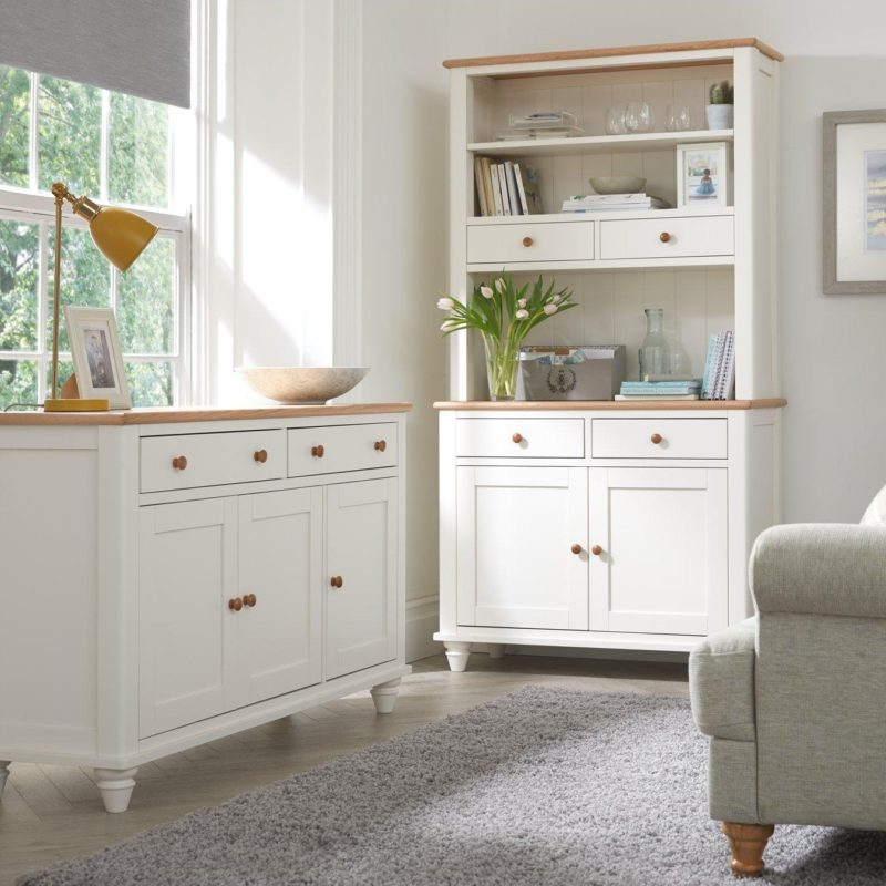 White/oak sideboard with hutch
