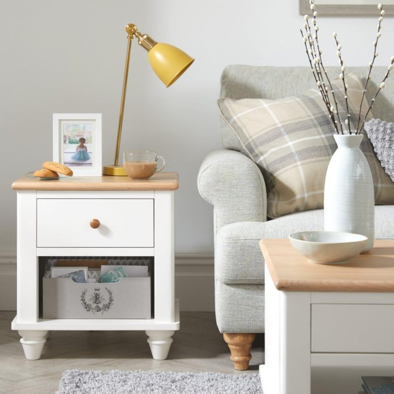 White-painted lamp table with oak top