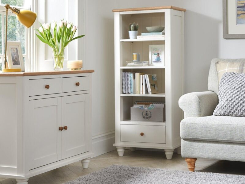 White/oak sideboard and matching bookcase