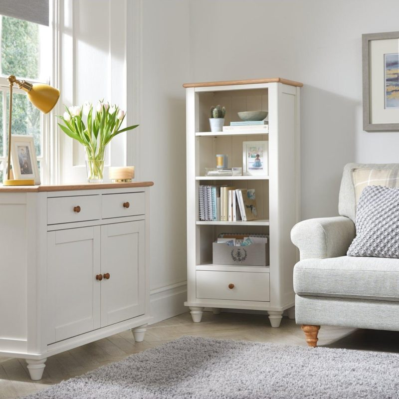 White painted bookcase and matching sideboard