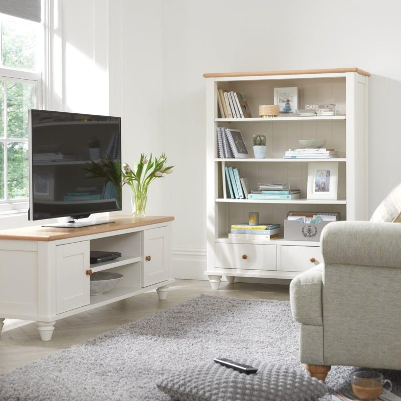 White/oak tv stand and matching bookcase