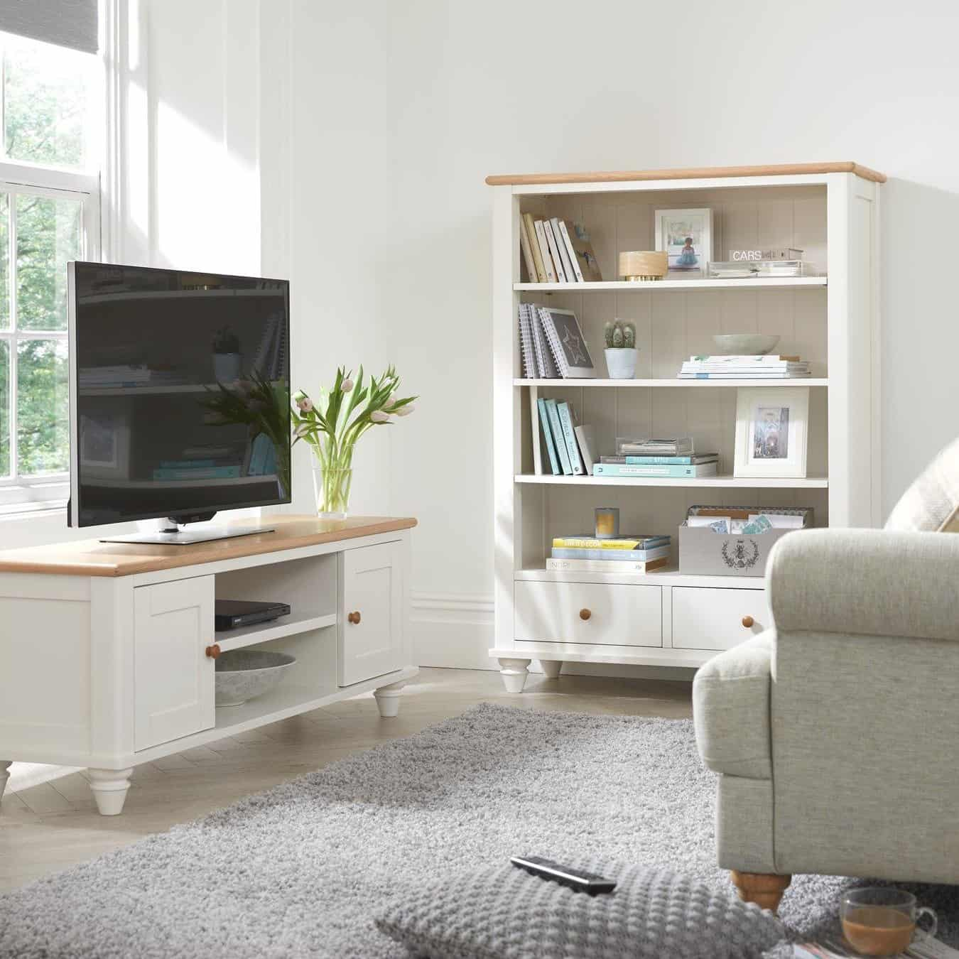 White/aok tv stand and matching bookcase