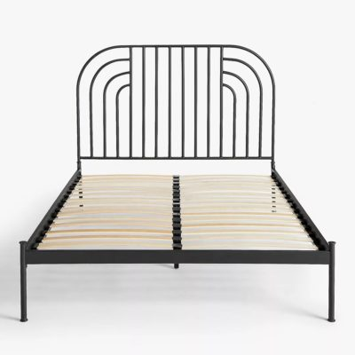 Swirl design bed frame with slatted base
