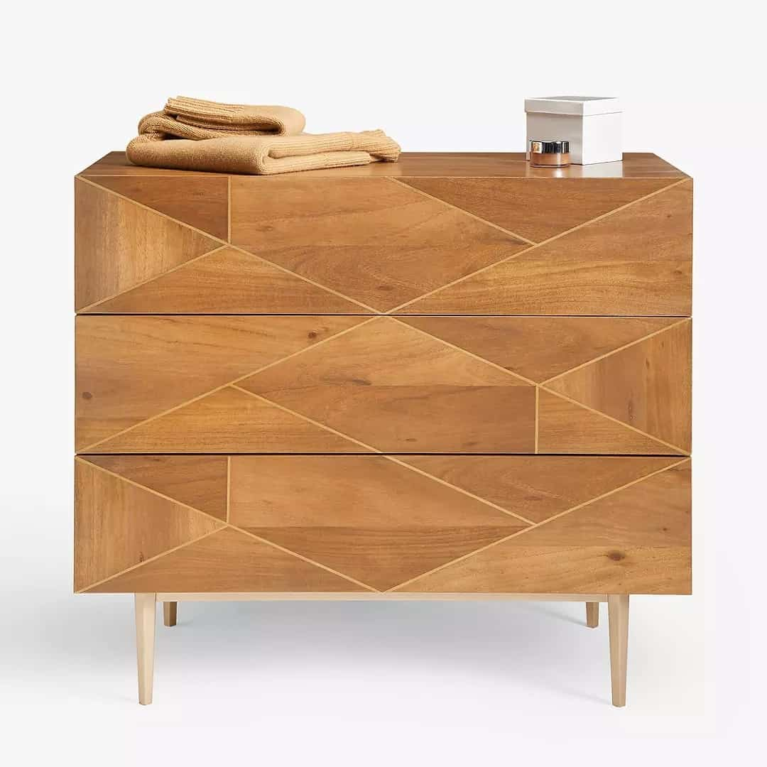 3-drawer acacia chest with brass inlay drawer fronts