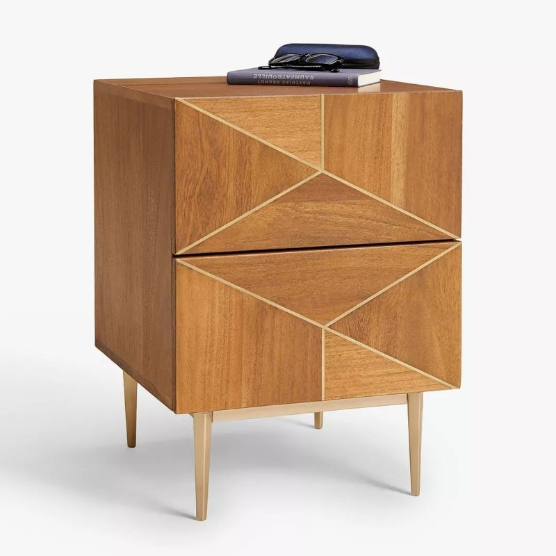Acacia bedside chest with brass inlay drawers