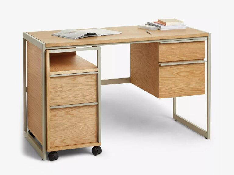 Home desk with brass coloured metal frame