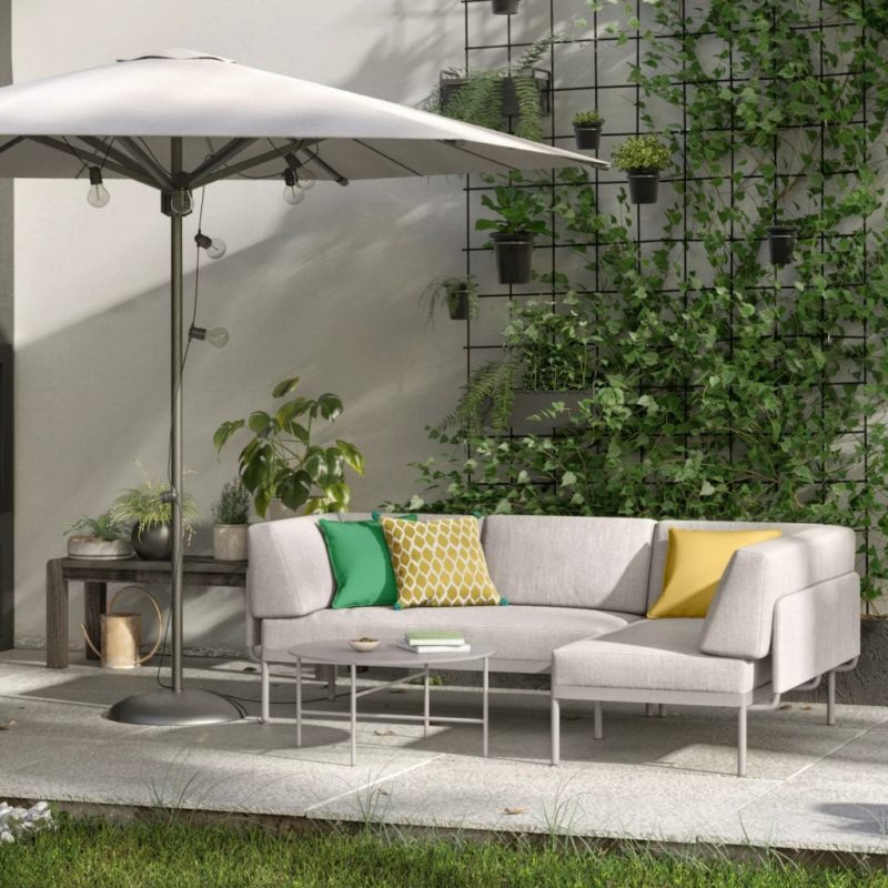 Putty coloured modular garden sofa and matching table