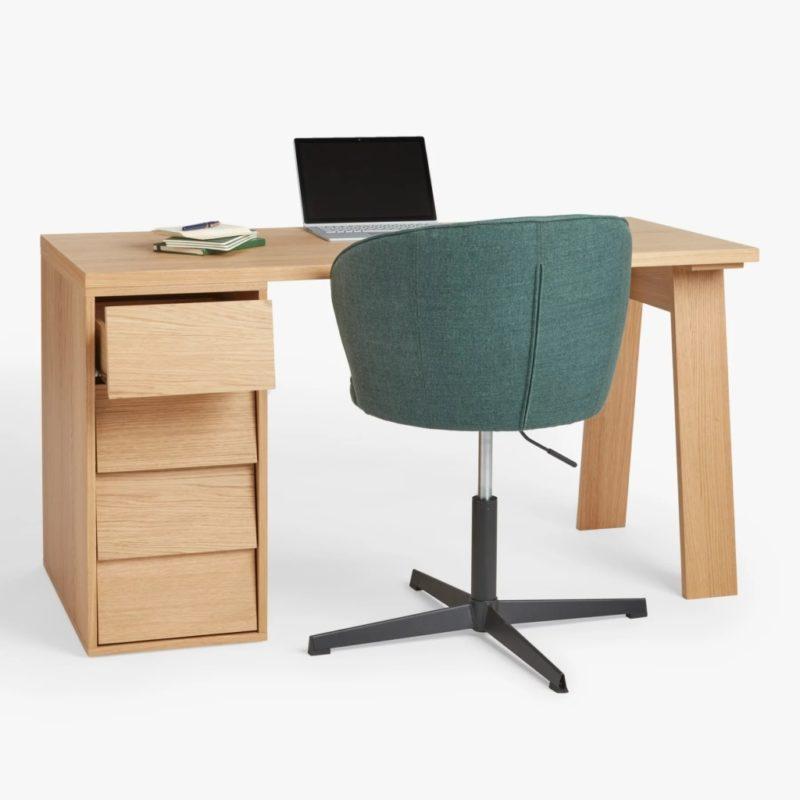 Oak desk with slanted drawers